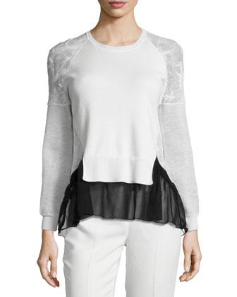 Jewel-Neck Long-Sleeve Top, Black/White