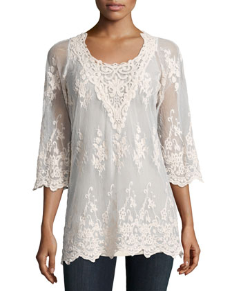 Maidenfair Mesh Embroidered Tunic, Women's