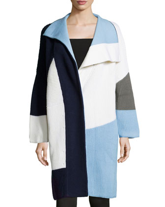 Long-Sleeve Colorblock Sweater Coat, Light Blue