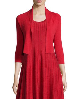 City Slicker Cropped Cardigan & Twirl Sleeveless Knit Dress, Petite