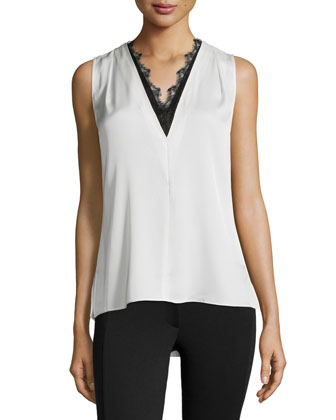 Giovanna Sleeveless Blouse W/ Lace Trim