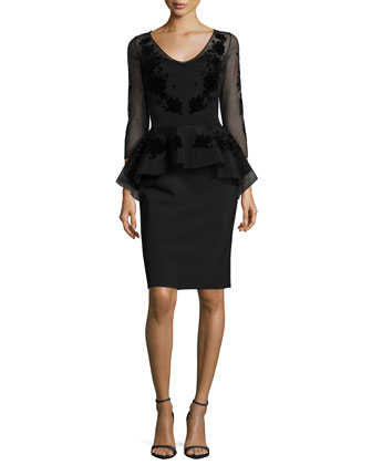 Carlene 3/4-Sleeve Floral-Embroidered Peplum Dress