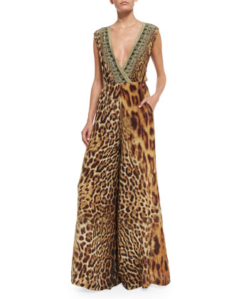 Ruler of the Underworld Twist-Back Animal-Print Jumpsuit