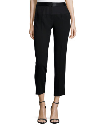 Mid-Rise Cropped Tapered-Leg Pants, Black