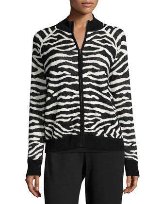 Zebra-Print Zip-Front Jacket, Petite