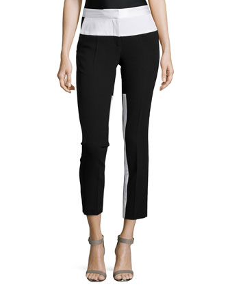 Mid-Rise Cropped Tapered-Leg Pants, Black/White