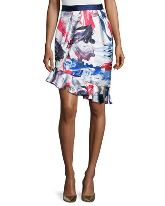 Tulip Skirt W/Ruffle Hem, Cobalt/Crimson
