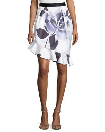 Tulip Skirt W/Ruffle Hem, Brushstroke Flower