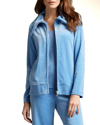Relaxed Velour Track Jacket, Plus Size