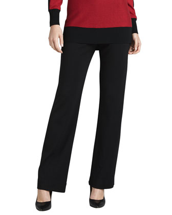 Ponte Boot-Cut Pants, Petite