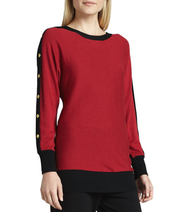 Colorblock Button-Sleeve Sweater, Petite