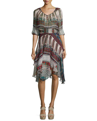 3/4-Sleeve V-Neck Scarf Dress, Folk