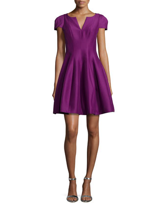 Tulip-Skirt Split-Neck Dress, Magenta