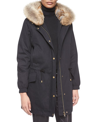 Fur-Trimmed Hooded Parka, Long-Sleeve Skinny-Rib Sweater & Leather Belted ...