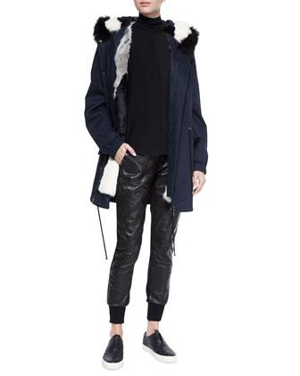 Fur-Lined Hooded Parka, Laser-Cut Sleeveless Turtleneck Top & Leather ...
