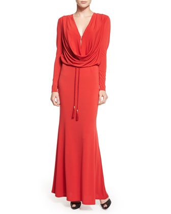 Long-Sleeve Cowl-Neck Gown