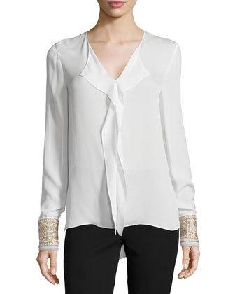Annabel Long-Sleeve Blouse with Beaded Cuff