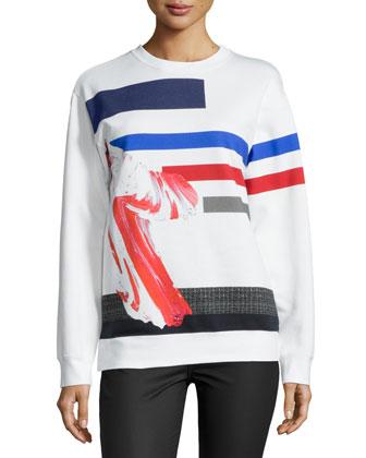 Long-Sleeve Jewel-Neck Sweatshirt, White