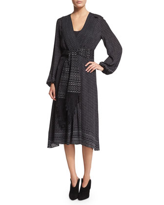 Luisa Printed Wrap Dress W/ Tie