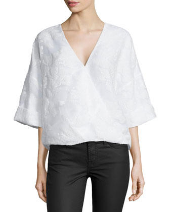 Wrap-Front Kimono-Sleeve Blouse, White