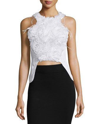 Sleeveless Embellished Peplum Top, White