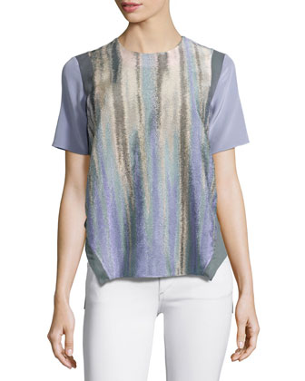 Jewel-Neck Short-Sleeve Blouse, Midnight Purple
