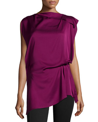 Natalia Sleeveless Draped Blouse, Magenta