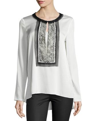 Iris Long-Sleeve Blouse W/ Lace Bib
