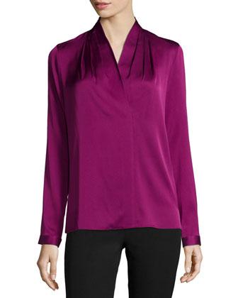 Gabrielle Long-Sleeve Silk Blouse