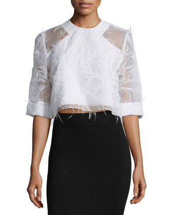 Half-Sleeve Cropped Blouse, White