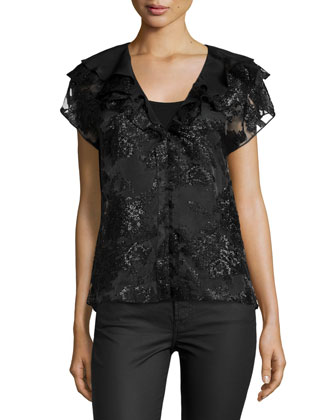 Layered V-Neck Cap-Sleeve Blouse, Black