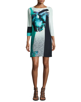 3/4-Sleeve Floral-Print Shift Dress, Turquoise