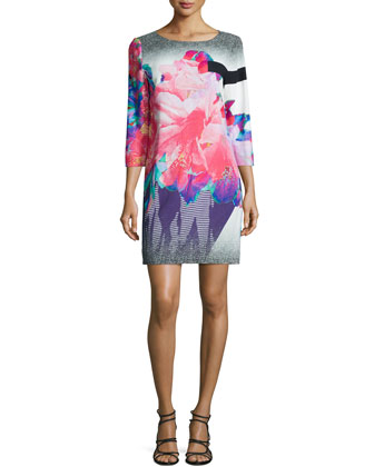 3/4-Sleeve Floral-Print Shift Dress, Bright Pink