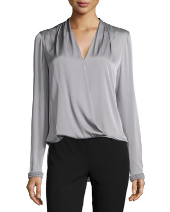 Cecile Wrap-Front Blouse & Boot-Cut Pull-On Leggings
