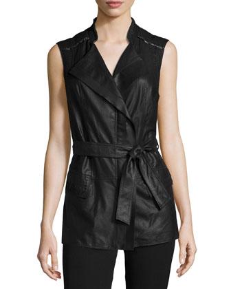 Ivette Leather Belted Vest