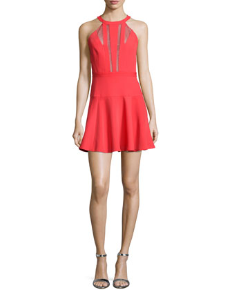 Halter Mesh-Inset Fit & Flare Cocktail Dress