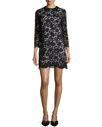Ameera Lace Sheath Dress, Black