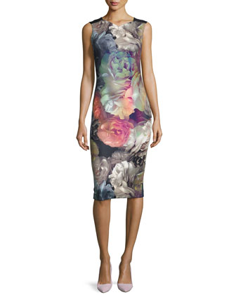 Mayzi Technicolor Bloom Sheath Dress, Black
