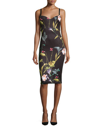 Lisa Sleeveless Oriental Floral-Print Midi Dress, Black