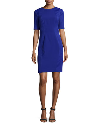Abrial Mesh-Panel Sheath Dress, Blue