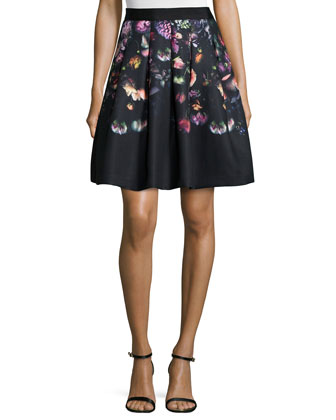 Deniva Shadow-Floral Full Skirt, Gray