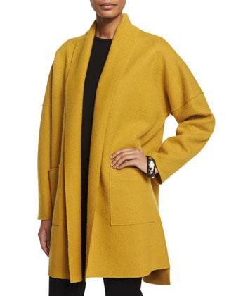 Boiled Wool Kimono Coat, Mustard, Women's