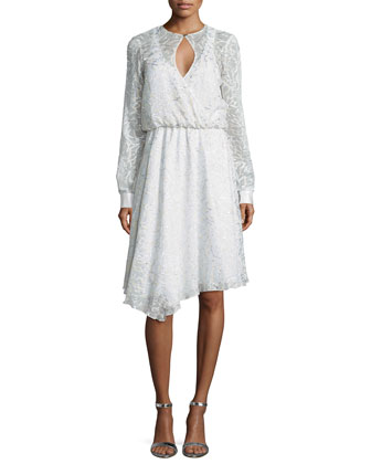 Long-Sleeve Metallic-Floral Dress, White