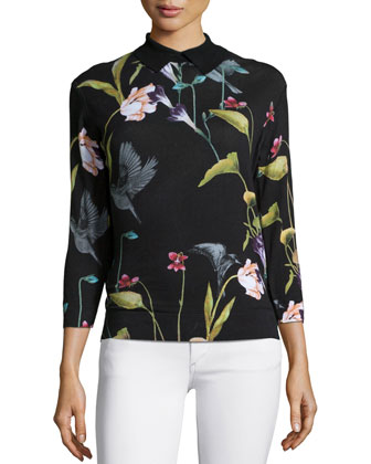 Sundryy Floral-Print Top, Black