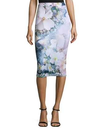 Sinda Tile-Floral-Print Midi Pencil Skirt, Navy