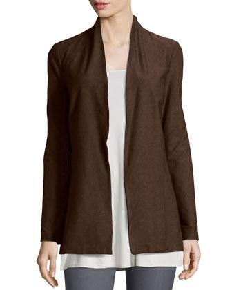 Long Washable Crepe Shawl-Collar Jacket, Chocolate, Petite