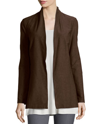 Long Washable Crepe Shawl-Collar Jacket, Chocolate, Women's