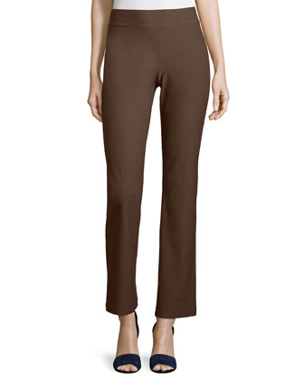 Washable Crepe Slim Boot-Cut Pants, Chocolate