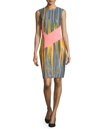 Sleeveless Crewneck Sheath Dress, Bright Pink