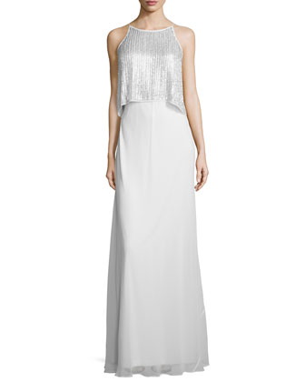 Sleeveless Sequined Popover Gown